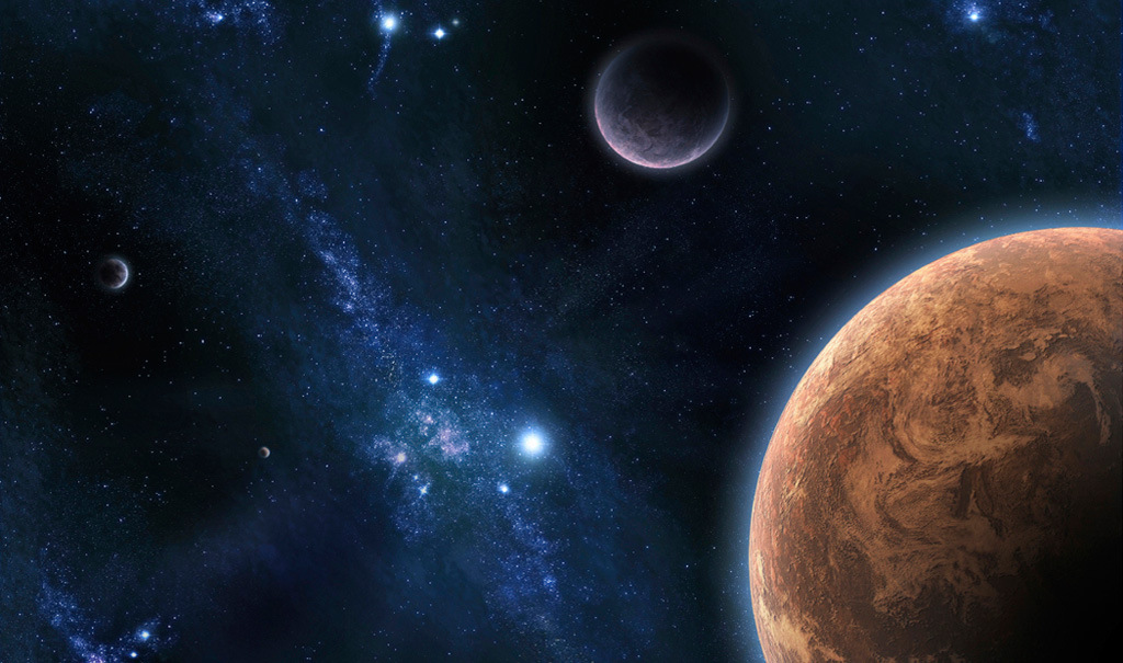 Image of space with planets and stars