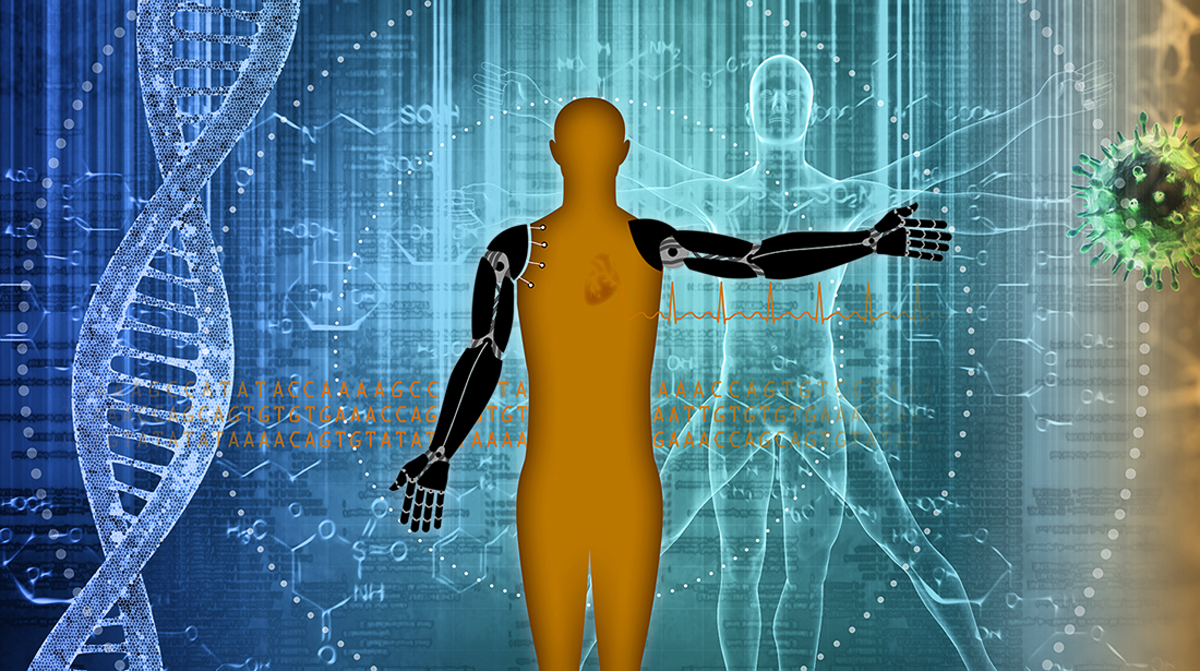 Graphic depiction of Vitruvian man, with DNA strand, data and other bioengineering parts.