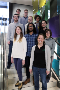 Photo of Purcell Lab group posing in a staircase.
